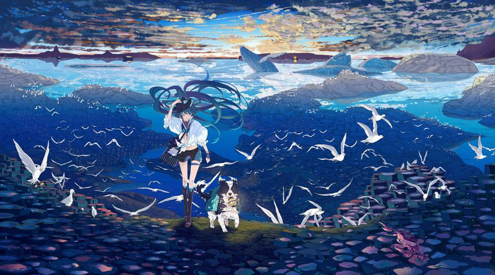 动漫,初音未来,鸟类,狗,VOCALOID,灯笼,相机,船,动漫女孩,动漫,长图片