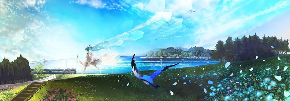 动漫,初音未来,VOCALOID,鸟类,培养,海,赛跑,花卉,动漫女孩,动漫2图片