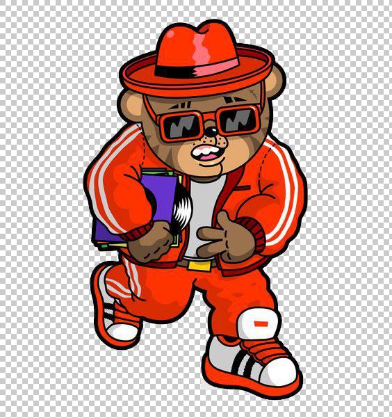 嘻哈涂鸦,嘻哈熊PNG剪贴画漫画,动物,帽子,徽标,脊椎动物,插画家,图片