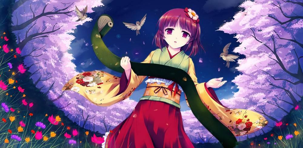动漫,东方,和服,Hieda no Akyuu,动漫女孩,花卉,鸟类,动漫102203图片