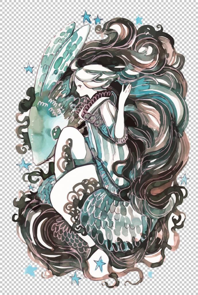 绘图水彩绘画插图,飞鱼和女孩PNG剪贴画蓝色,png材料,时尚女孩,漫图片