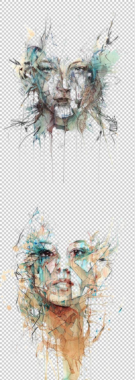 艺术家绘画绘画,女孩阿凡达,两个女人脸抽象的PNG剪贴画水彩画,墨图片