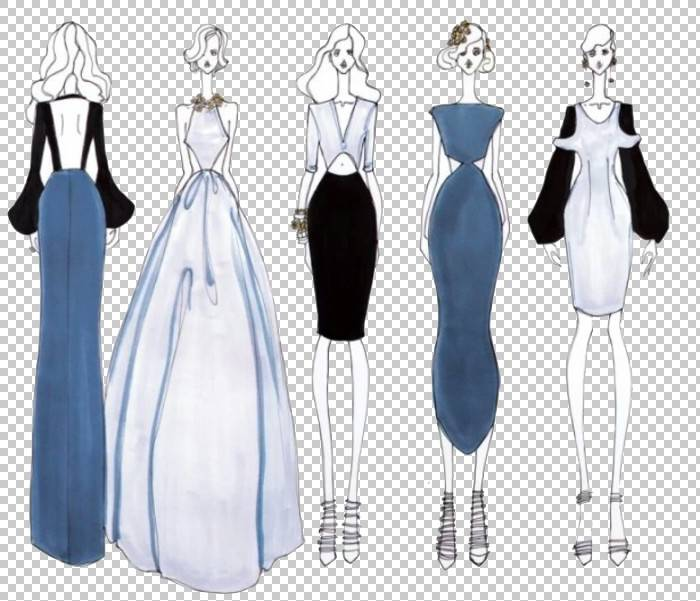 时尚插画时尚设计插画,女装的设计手稿PNG剪贴画蓝色,假期,女性配图片