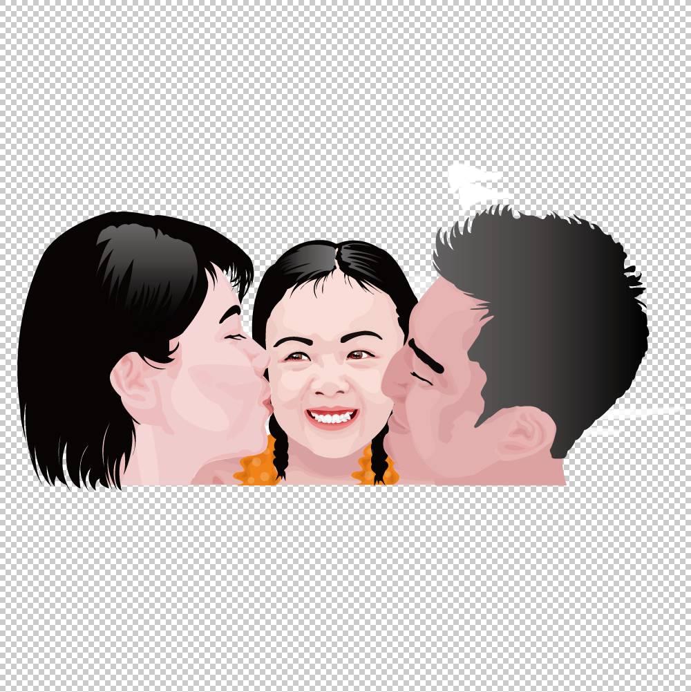在家庭卡通插图,临女儿脸父母PNG剪贴画爱,孩子,脸,人,宠物,友谊,图片