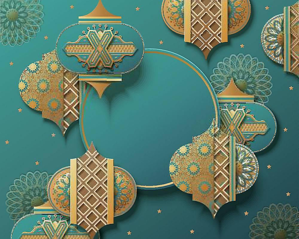 蓝色的花纹清真寺灯笼开斋节