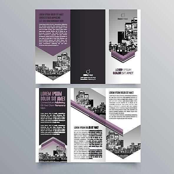 紫色通用简约时尚商务宣传三折页设计图片