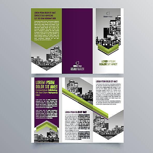 紫色简约时尚商务宣传三折页设计图片