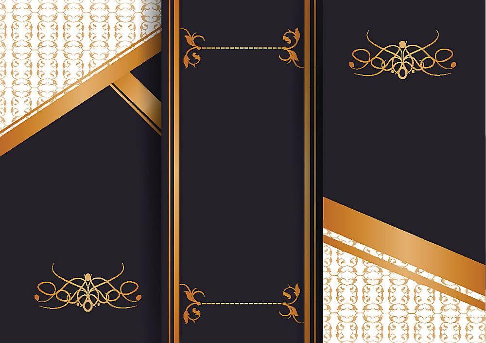 简约时尚大气高端黑色三折页传单图片