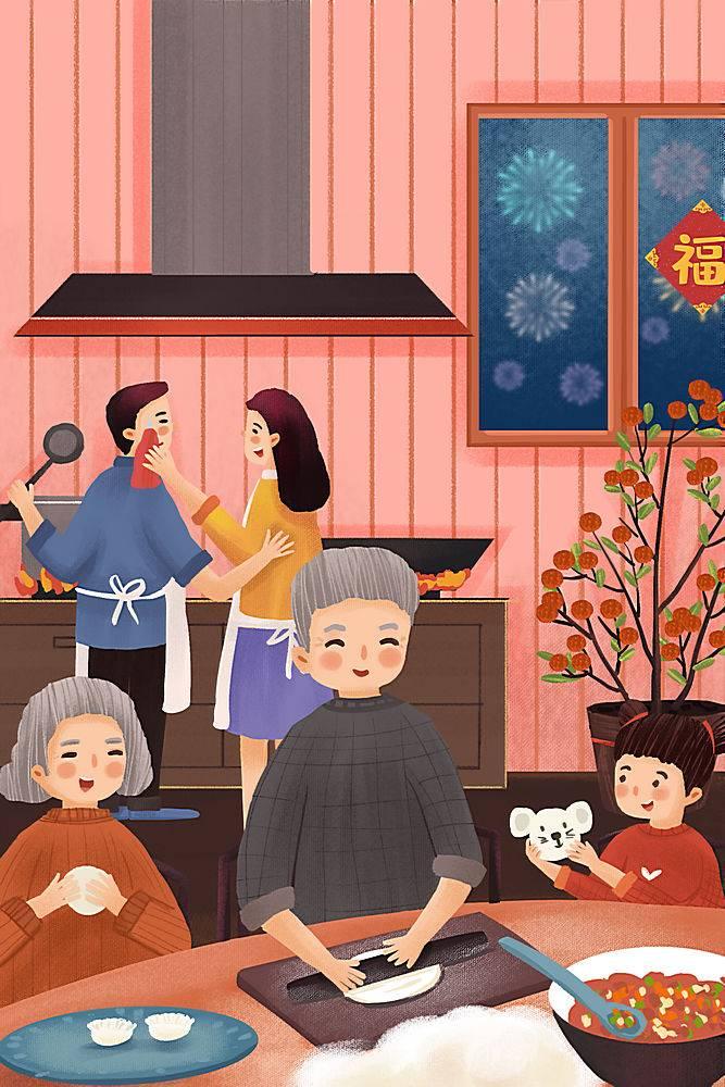 新年春节饺子插画